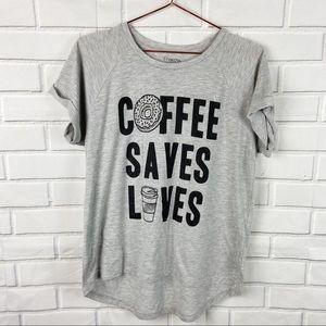 Freeze Coffee Saves Lives coffee cup gray tee L